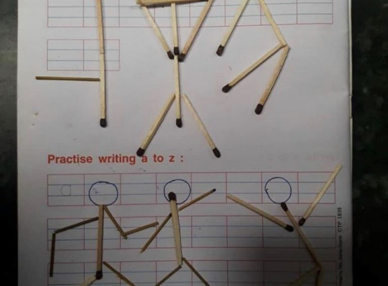 School workbook activity with matches