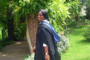 Dr Georgina Oduro in Graduation robe