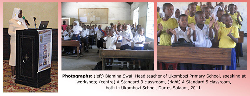 Montage of Headteacher and Standard 3 and 5 classes, Ukombozi School
