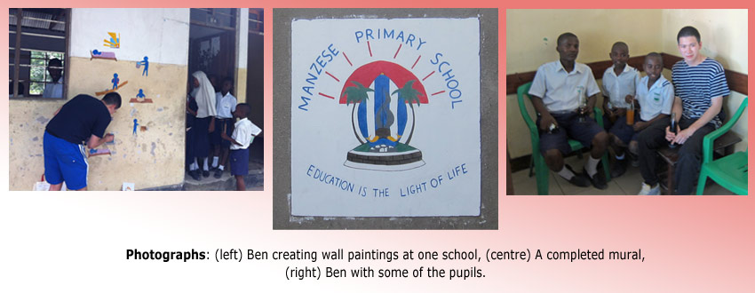 Montage of Ben Yip creating wall paintings with students in Tanzania