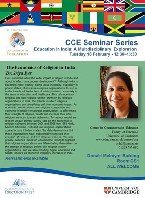 Image of seminar flyer for Dr Sriya Iyer on 18 February 2014