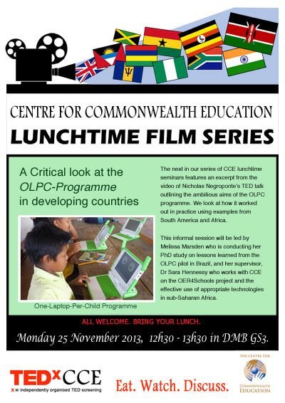 Image of flyer for Lunchtime film series 25 November on OLPC Programme