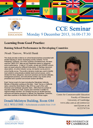 Flyer for Noah Yarrow, World Bank, Seminar on 9th December 2013