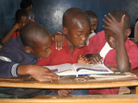 Boys at desk, Zambia