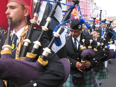 Pipers at Golowan Festival, Penzance, 2014