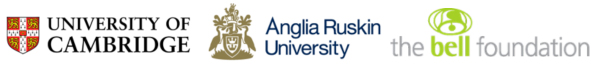 Logos for University of Cambridge, Anglia Ruskin University, Bell Foundation