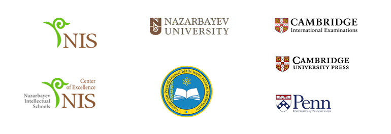 Logos for: Nazarbayev University,    Nazarbayev Intellectual Schools, Nazarbayev Intellectual Schools Centre of Excellence,   Ministry of Education and Science of the Republic of Kazakhstan, University of Pennsylvania Graduate School,  Cambridge International Examination,  Cambridge University Pres