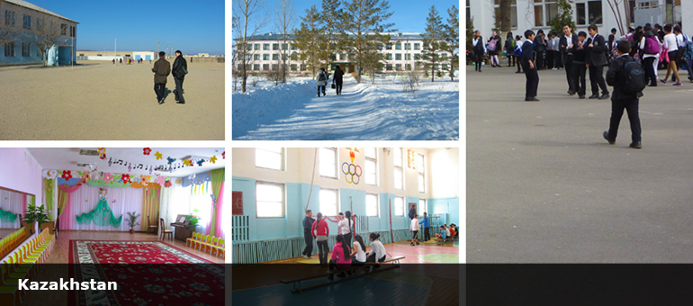 Collage showing students and schools' exteriors and interiors
