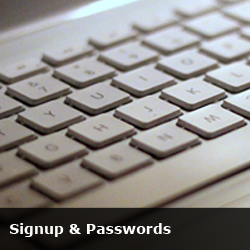 signup and passwords button