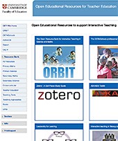 Screenshot of OER resources site