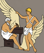 Illustration of Icarus and his father Daedulus