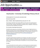 University of Cambridge job opportunities, headteacher