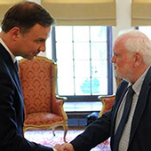 Polish President Andrzej Duda meets Professor David Whitebread