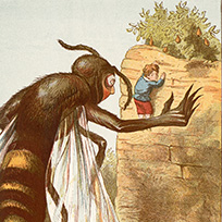 Illustration of large wasp and small child