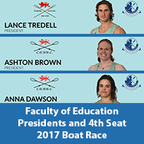 Lance Tredell, Ashton Brown, Anna Dawson Boat Race 2017 Faculty of Education