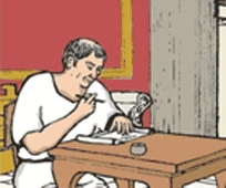 A male in toga sits at a table writing