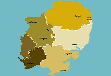 East Anglia map