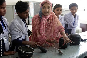 Girls in science class, Bangladesh