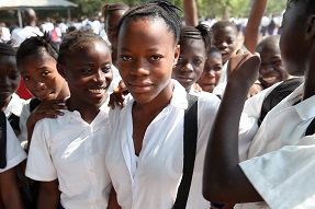 Girls in school yard, Sierra Leone