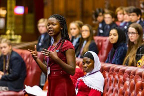 Girl talking in parliamentary debate