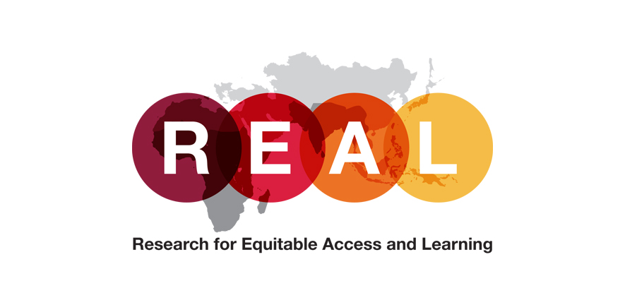 The letters of 'REAL' logo superimposed over a world map - Research for Aquitable Access and Learning