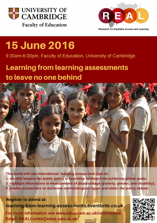 Poster of 15 June REAL Centre one day conference: Learning from learning assessments to leave no one behind