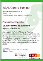 Poster for Professor Ahsan Iqbal event