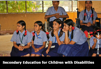 Indian children in classroom with disabilities